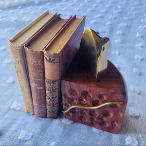 Wooden & Brass Colored Book End Mouse In Cheese